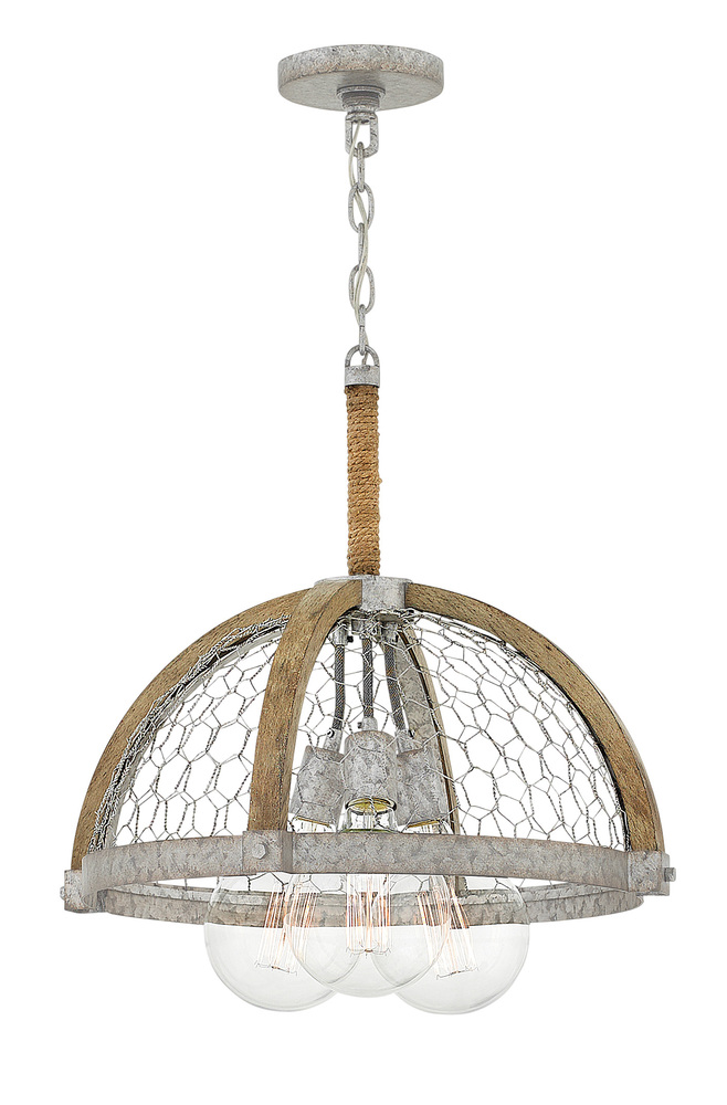 "HIN 4273WZ Heywood 3Lt Weathered Zinc Chandelier 19""W x 19.8""H 60W G-45 lamp included"