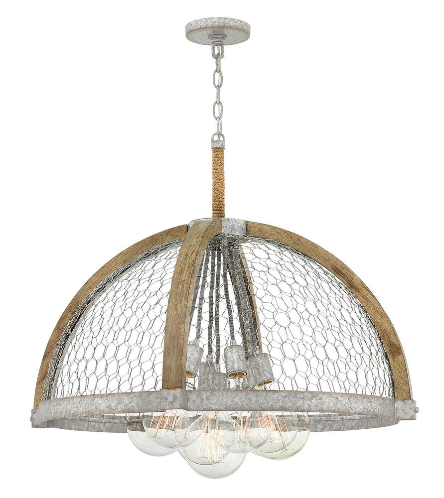 HIN 4278WZ Heywood 7Lt Weathered Zinc Chandelier 100W Med (60W G-45 bulbs included) lamp included NEWSTOCK MAR 2019
