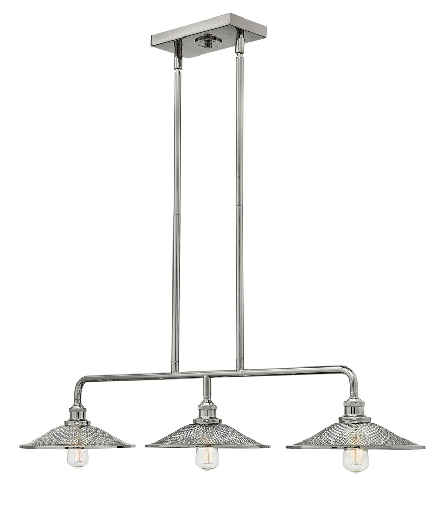 "HIN 4364PN Rigby 3Lt Polished Nickel Chandelier 40""W x 7""H -40""Max.H 60W Med"