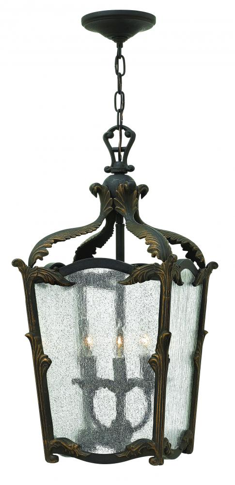 HIN 4523AI 3 LIGHT AGED IRON FOYER W/CLEAR SEEDEY GLASS 3X60C