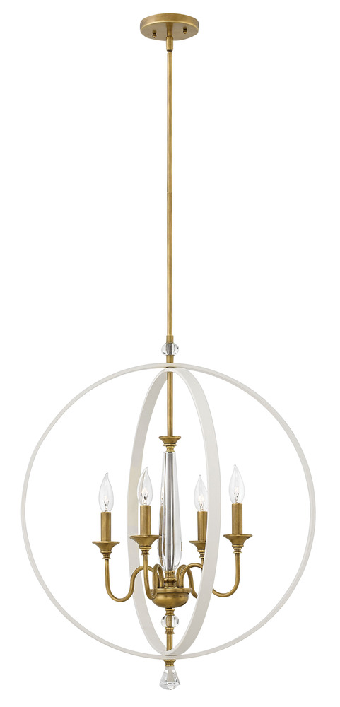 "HIN 4604WT 4Lt Warm White Chandelier Waverly 24""W x 28.75""H 60W Cand"