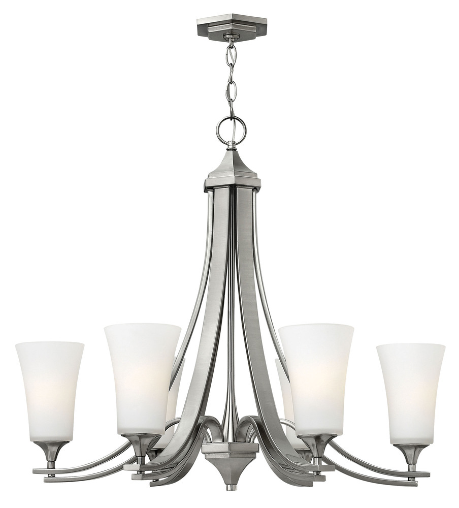 "HIN 4636BN Brantley 6Lt Brushed Nickel Chandelier 30""W x 26.5""H 100W Med lamp not included"