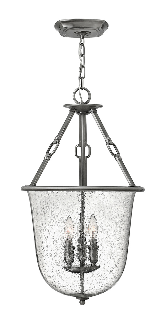 "HIN 4783PL Dakota 3Lt Polished Antique Nickel Chandelier 15.87""W x 27.3""H 60W Candelabra lamp not included"