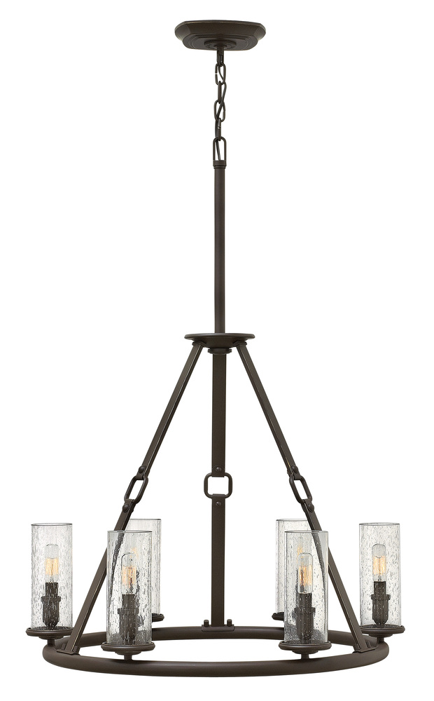 "HIN 4786OZ Dakota 6Lt Oil Rubbed Bronze Chandelier 26.5""W x 36.5""H 60W Med lamp not included"