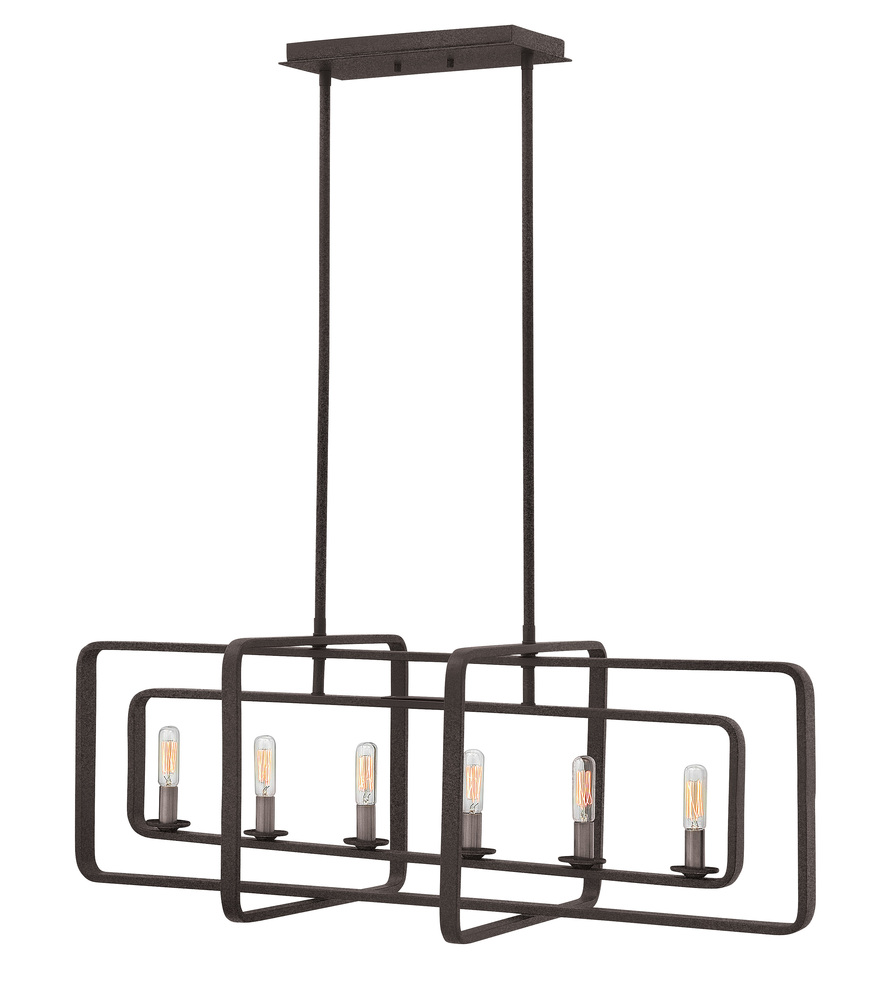 "HIN 4815DZ Quentin 6Lt Aged Zinc Chandelier 36""W x 13""H 60W Candelabra lamp not included"