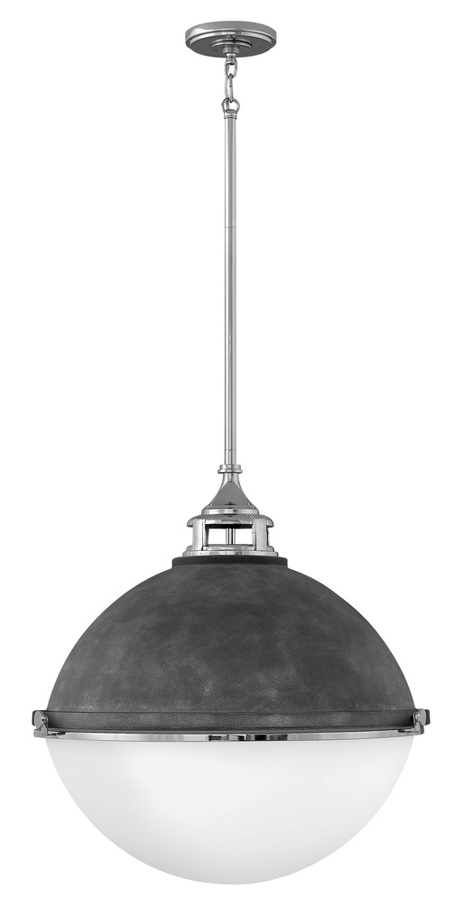 "HIN 4836DZ-PN Fletcher 3Lt Aged Zinc w/Polished Nickel Pendant 22""W x 23""H 100W Med lamp not included"