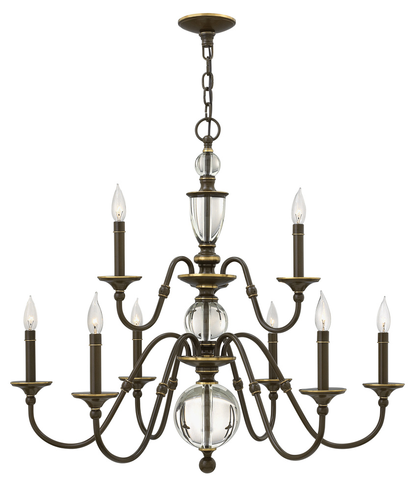 "HIN 4958LZ Eleanor 9Lt Light Oiled Bronze Chandelier 35.3""W x 31.3""H 60W Candelabra lamp not included"
