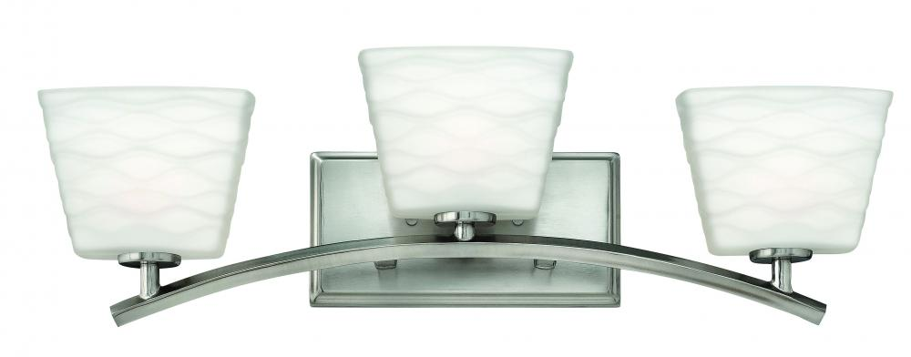 HIN 5203BN Three Light Brushed Nickel Etched Opal Glass Vanity 3X60G-9 (INC.)