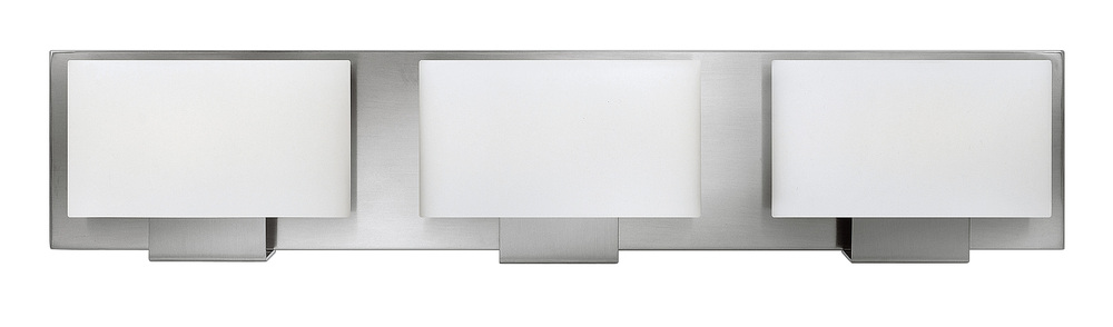 HIN 53553BN 3 LIGHT BRUSHED NICKEL BATH W/ETCHED OPAL GLASS 3X60W G9 (INCL)