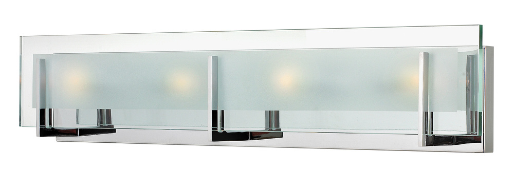 HIN 5654CM Four Light Clear Beveled Inside-etched Glass Vanity 4X60G-9 (INC)