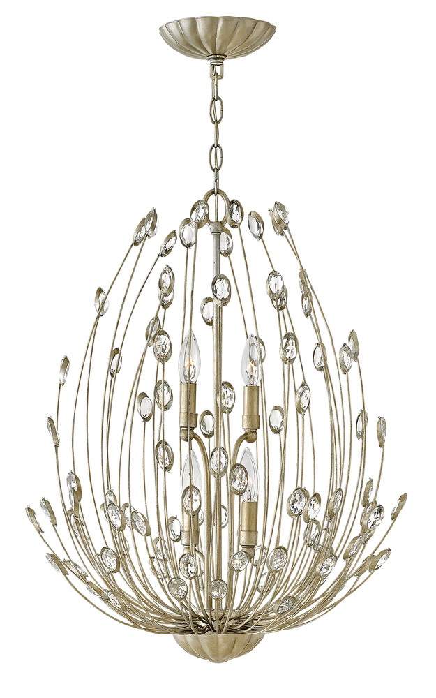 "HIN FR31024SLF Tulah 4Lt Silver Leaf Chandelier 20"" W x 25.5""H 60W Candelabra lamp not included"