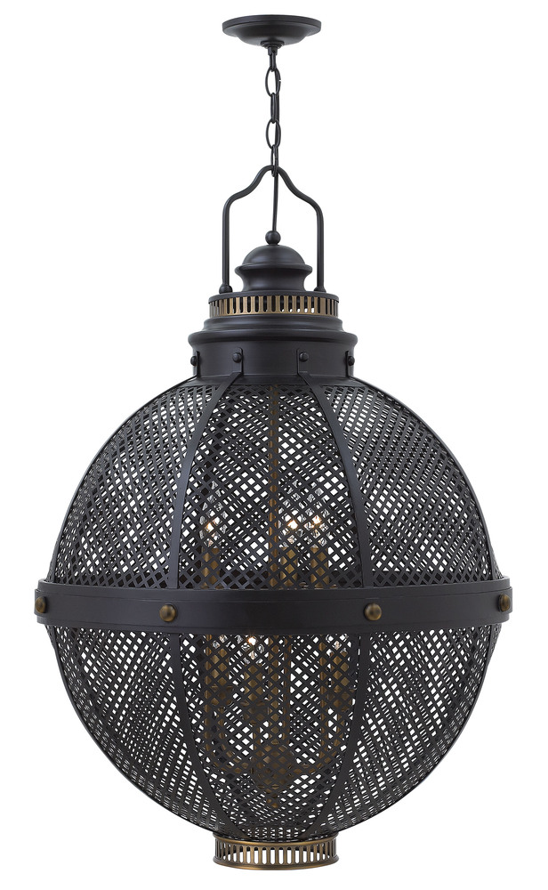 $HIN FR31436BLK 6LIGHT BLACK LARGE PENDANT W/BRASS ACCENTS 6X60C *** RED TAG ITEM ***