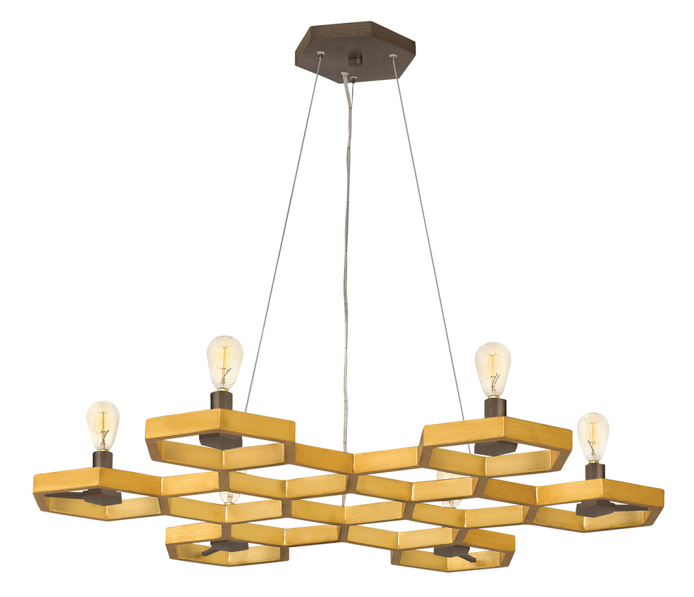 "HIN FR38016SSG Moxie 6Lt Sunset Gold & Bronze Tone Chandelier 4""H x 30.25""W 60W Candelabra lamp not included"