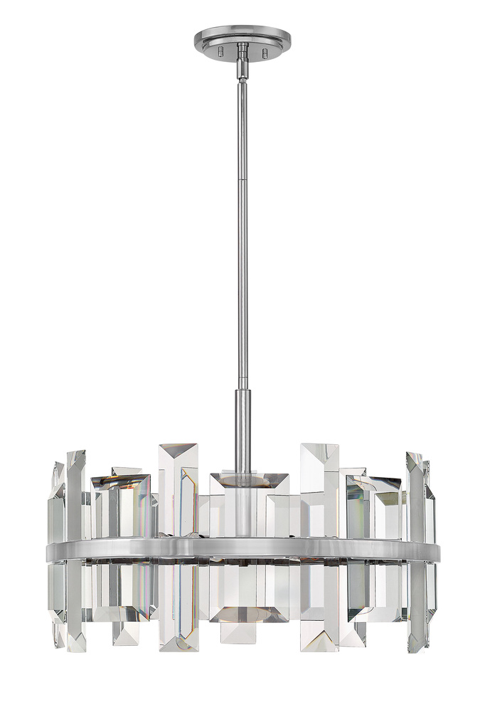 "HIN FR39214PNI Odette 6Lt Polished Nickel Chandelier 24""W x 16""H 60W Candelabra lamp not included"