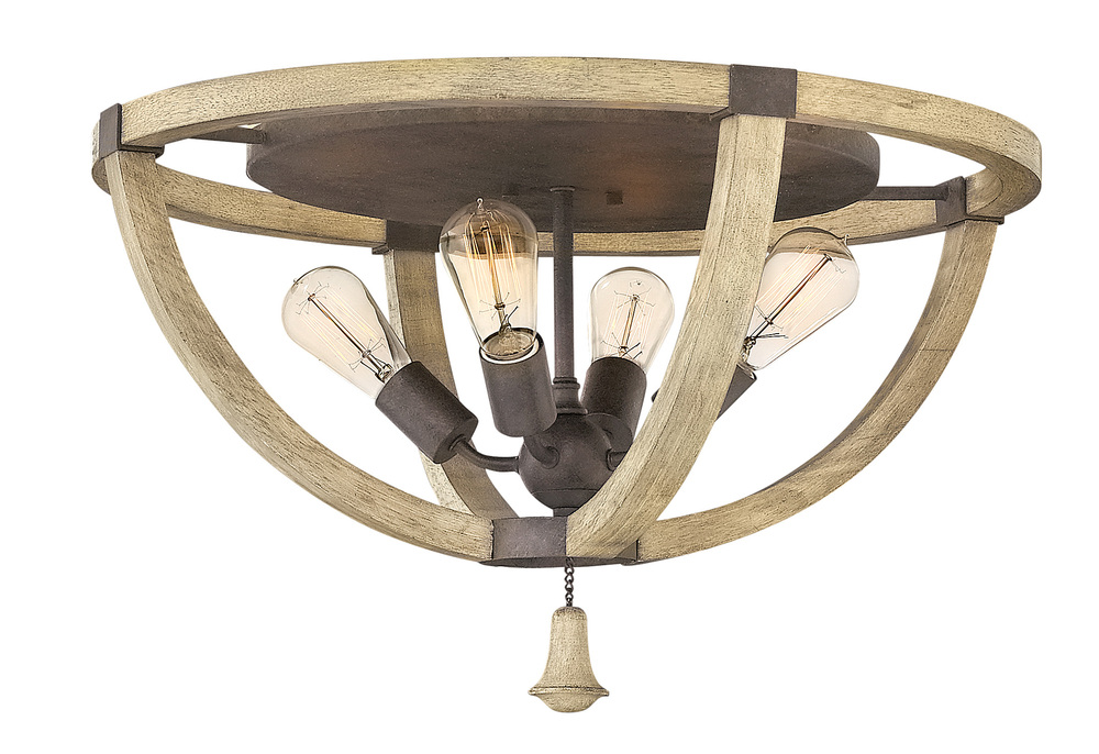 "HIN FR40571IRR Middlefield 4Lt Iron Rust Flush Mount 23.8""W x 13.3""H 100W Med lamp not included NEWSTOCK MAR 2019"