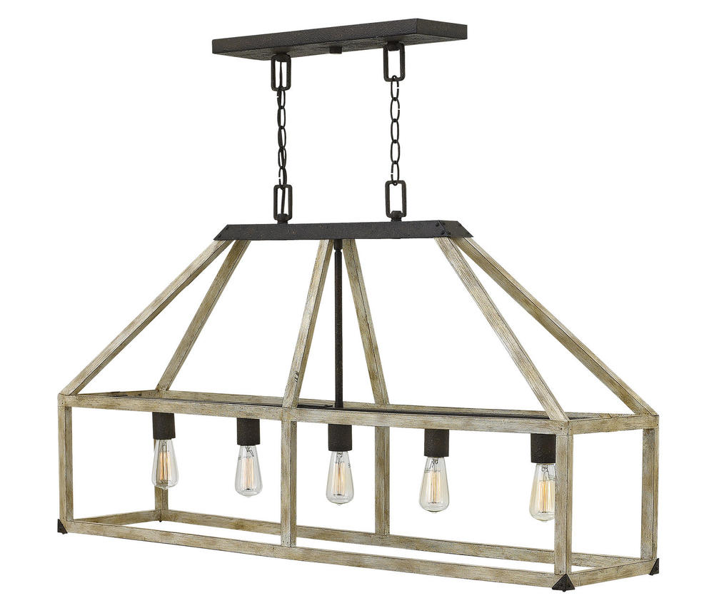 HIN FR41205IRR 5 LIGHT WHITE WASHED WOOD LINEAR CHANDELIER W/ IRON RUST ACCENTS 5X100M