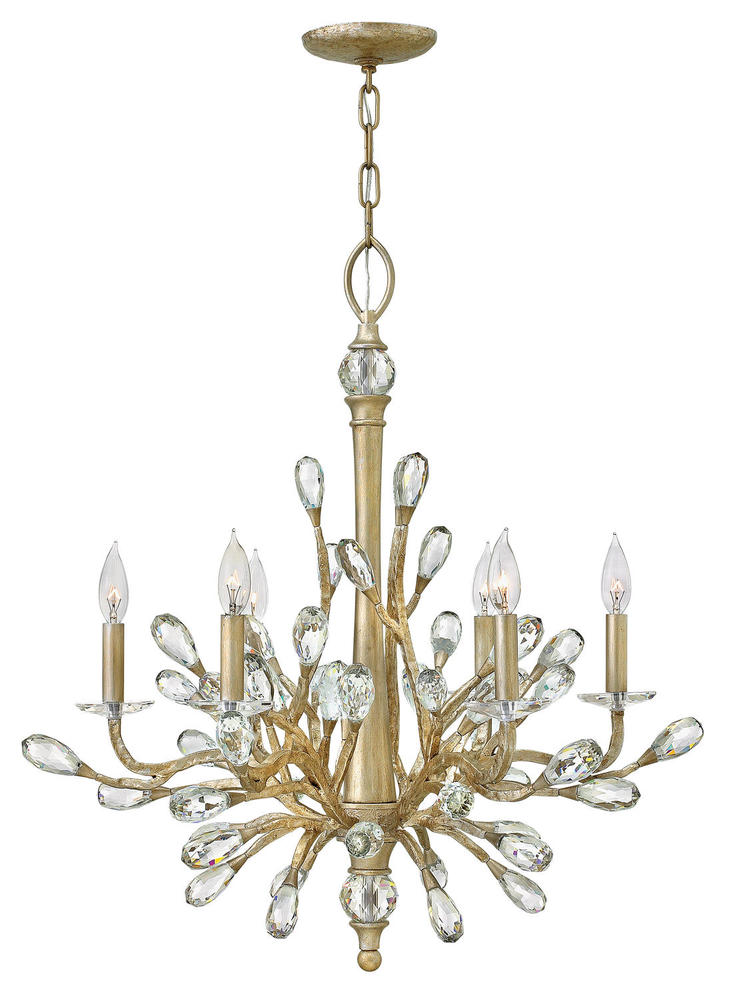 "HIN FR46806CPG Eve 6Lt Champagne Gold Chandelier 26""W x 30""H 60W Candelabra lamp (Not Included)"