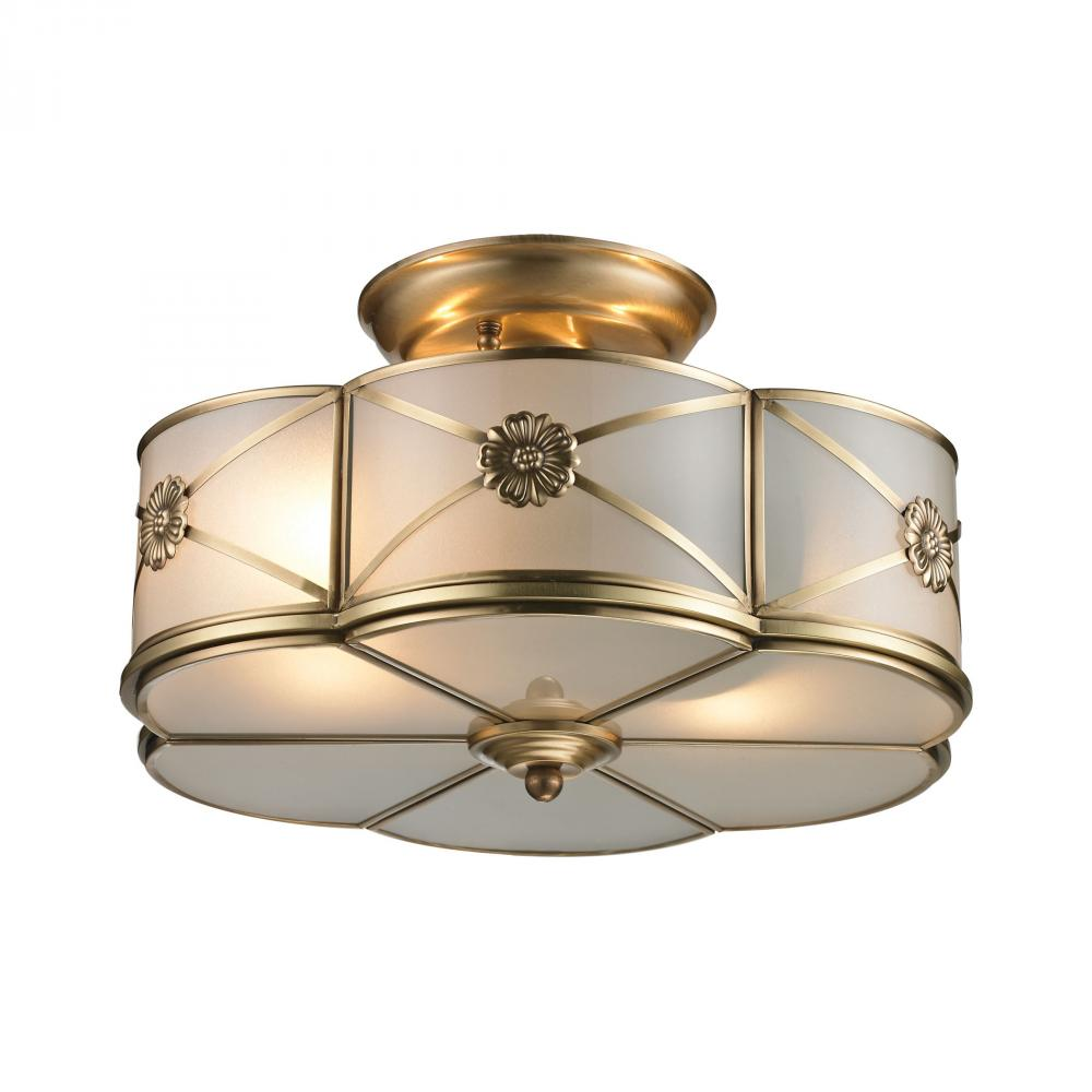 ELK 22002/2 Preston 2 Light Semi Flush In Brushed Brass 2X60Medium NEWSTOCK APR 2019