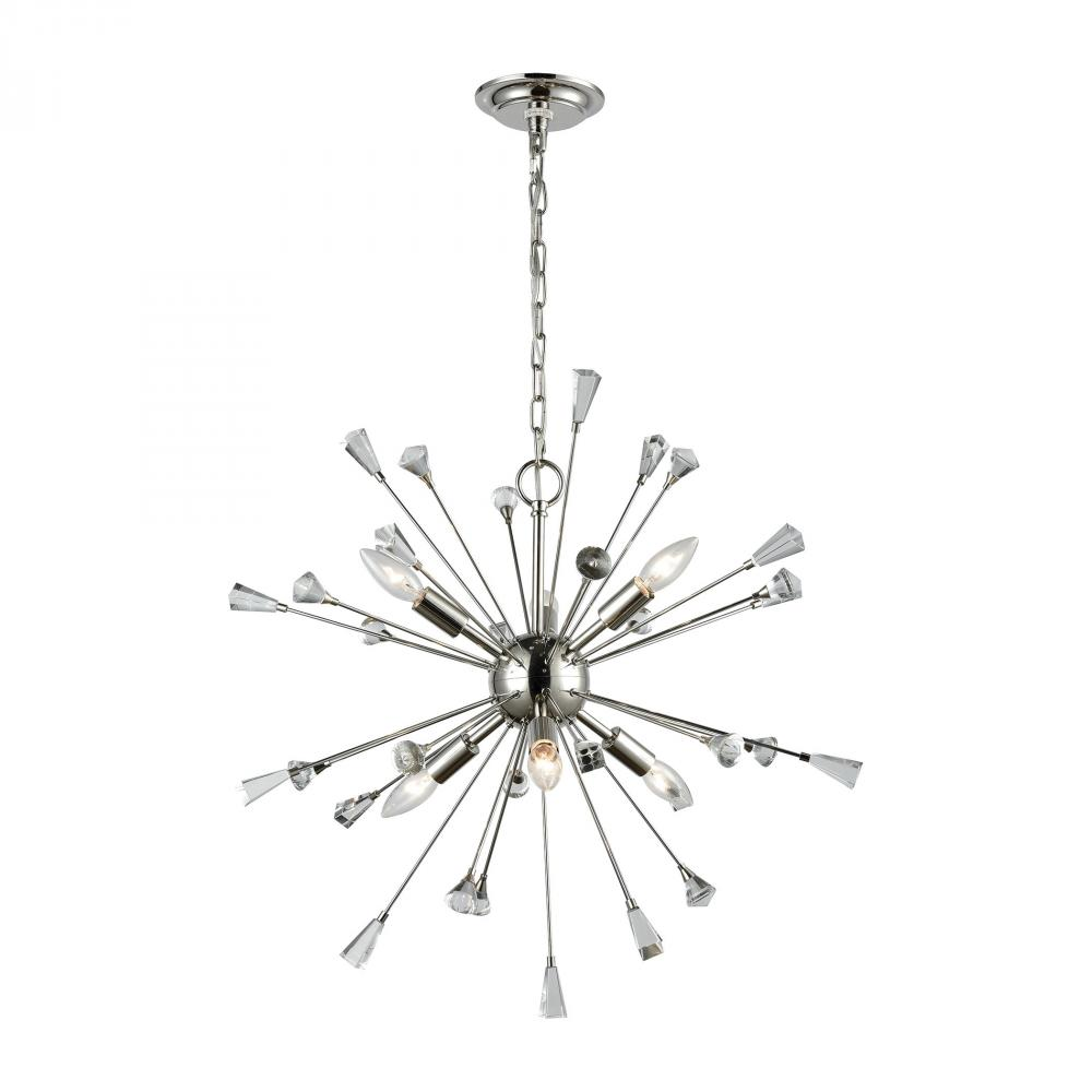 ELK 33030/6 Sprigny 6 Light Chandelier In Polished Nickel Wi 6X NEWSTOCK APR 2019