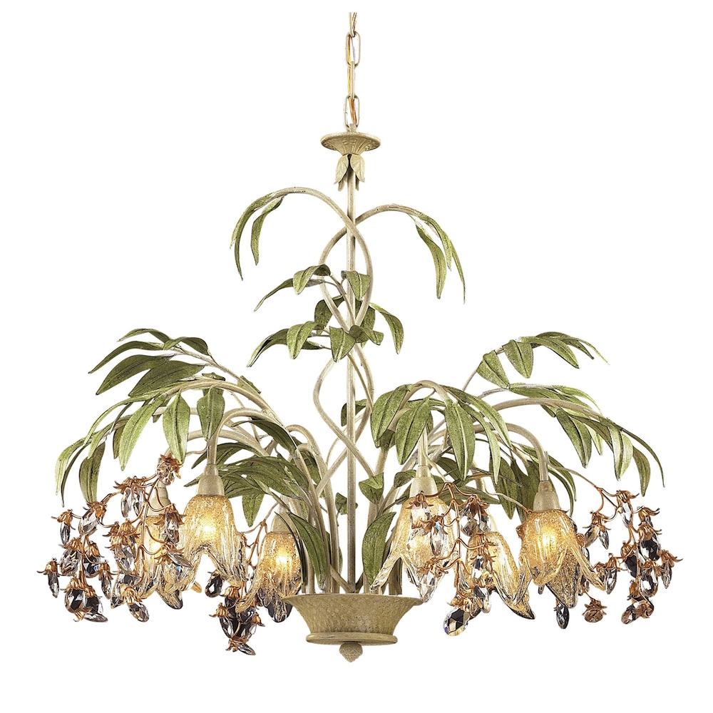 ELK 86053 Six Light Seashell Amber Glass Down Chandelier 6X40G9
