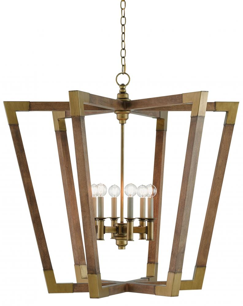 "CRR 9000-0008 Bastian 6Lt Chestnut Brass Chandelier 37""D x 35""H 60W Candelabra lamp not included"