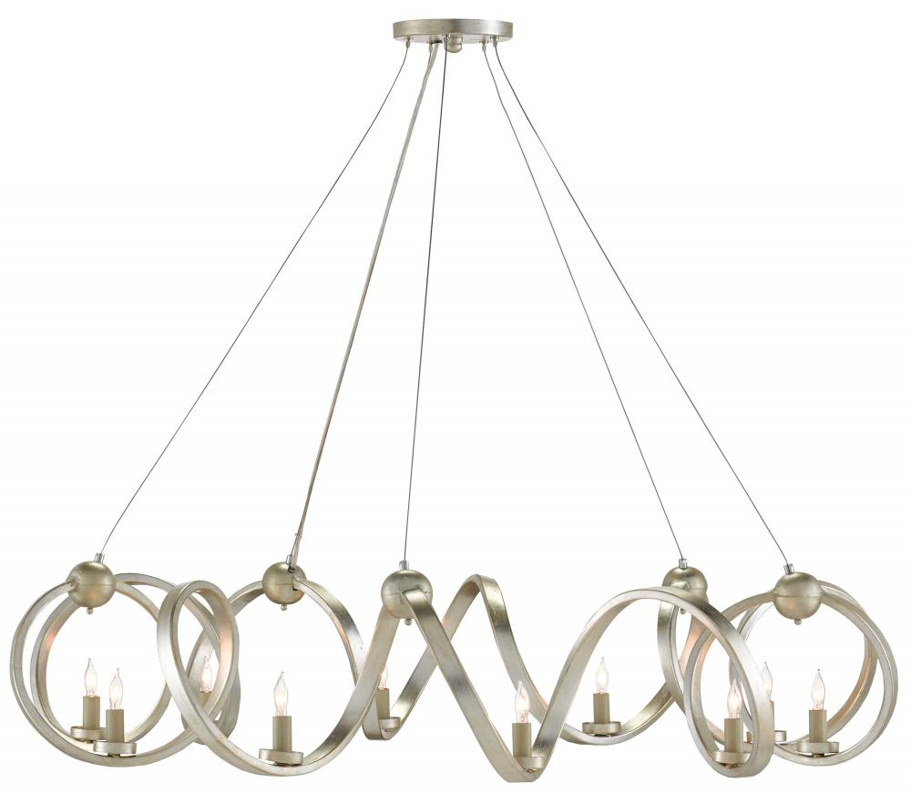 CRR 9000-0059 Ringmaster 10Lt Contemporary Silver Leaf Chandelier 46rd x 16h Adjustable from 21 to 132h 60W Candelabra lamp not included NEWSTOCK JUL 2018
