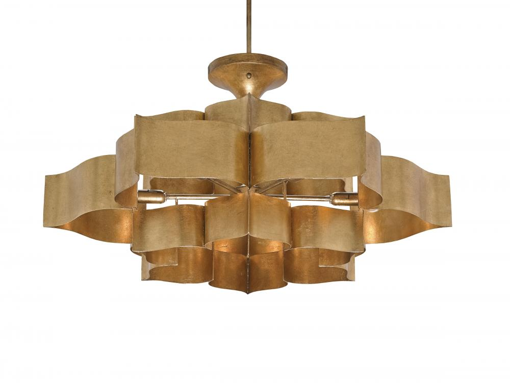 "CRR 9494 Grand Lotus 6Lt Antique Gold Leaf Chandelier 30""D x 16""H 60W Candelabra lamp not included"