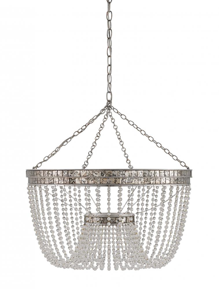 CRR 9685 Highbrow 8Lt Contemporary Silver Chandelier 24.25