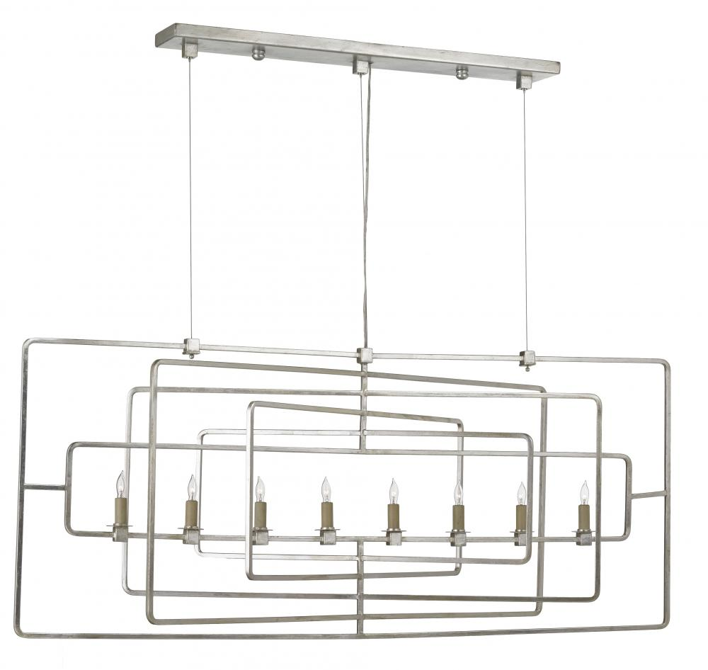 CRR 9836 Metro Rectangular 8Lt Wrought Iron Chandelier 54w x 17d x 23h 60W Candelabra lamp not included