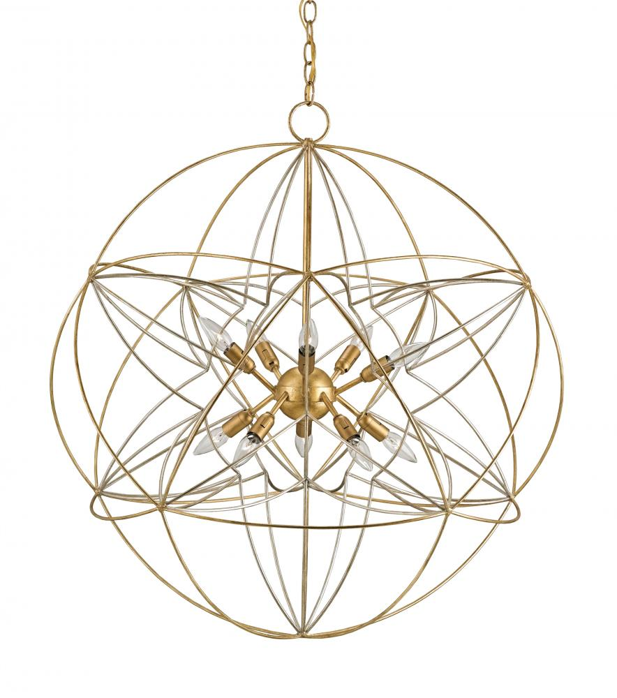 CRR 9840 Zenda10Lt Contemporary Gold Leaf/ContemporarySilver Leaf Orb Chandelier 34