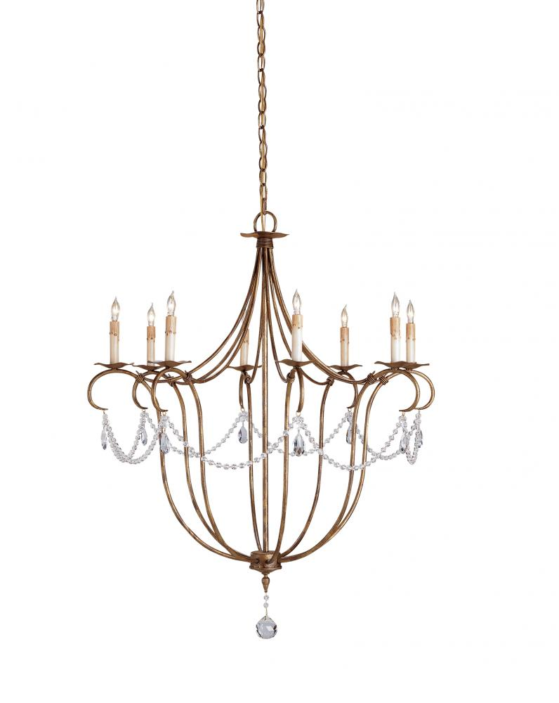 CRR 9881 Crystal Light Chandelier, Large Currey In A Hurry 8Lt Rhine Gold 31rd x 36h 60W Candelabra lamp not included