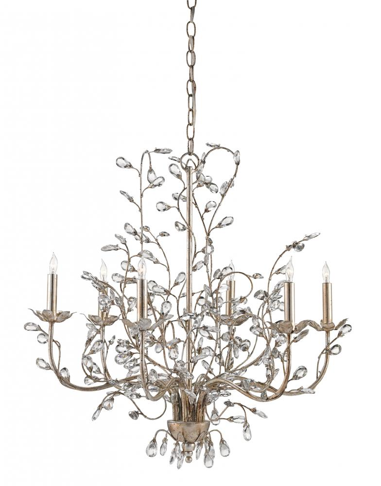 """CRR 9973 Crystal Bud 6Lt Silver Granello Chandelier 28""""D x 27""""H 60W Candelabra lamp not included"""