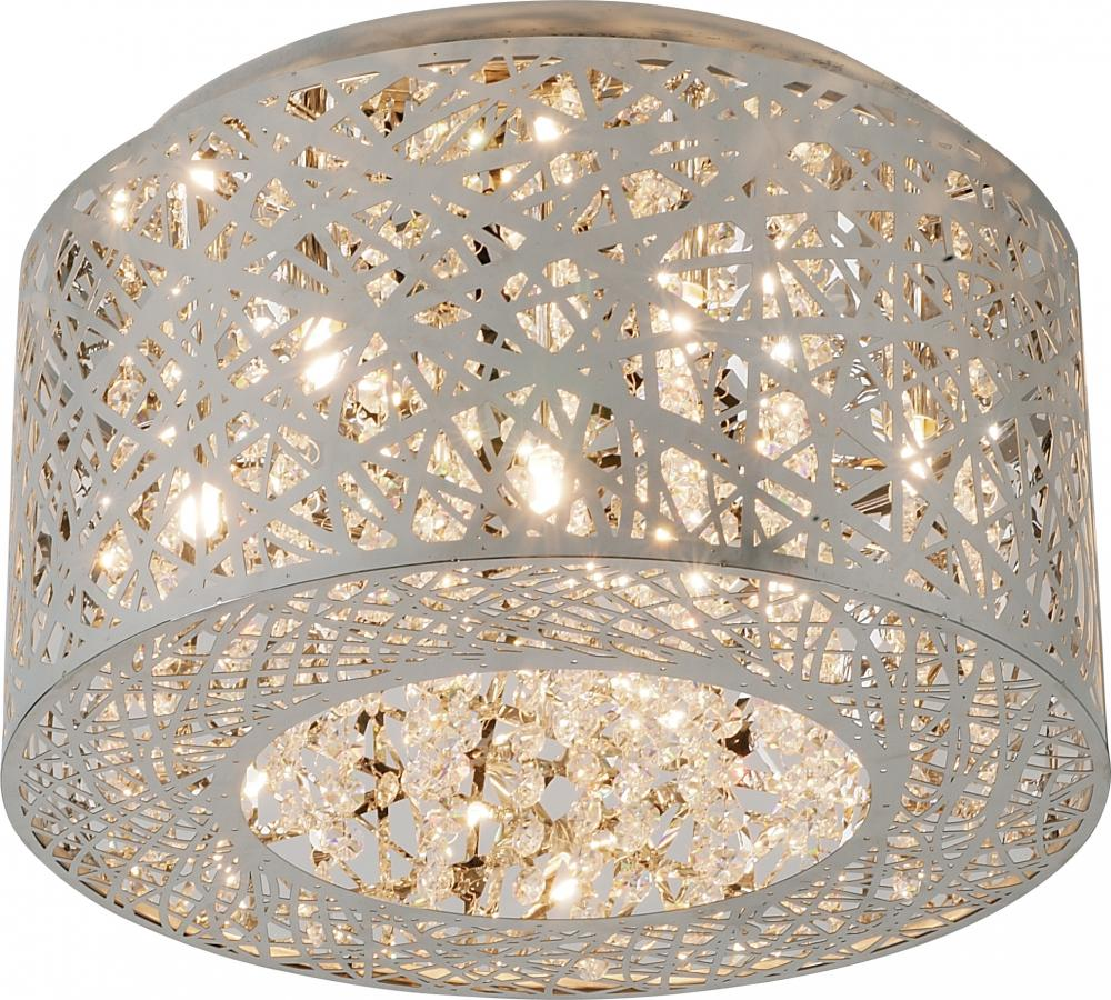 """ET2 E21300-10PC Inca 7Lt Polished Chrome Flush Mount 15.75""""W x 8.75""""H 40W G9 Xenon lamp not included NEWSTOCK MAY 2019"""