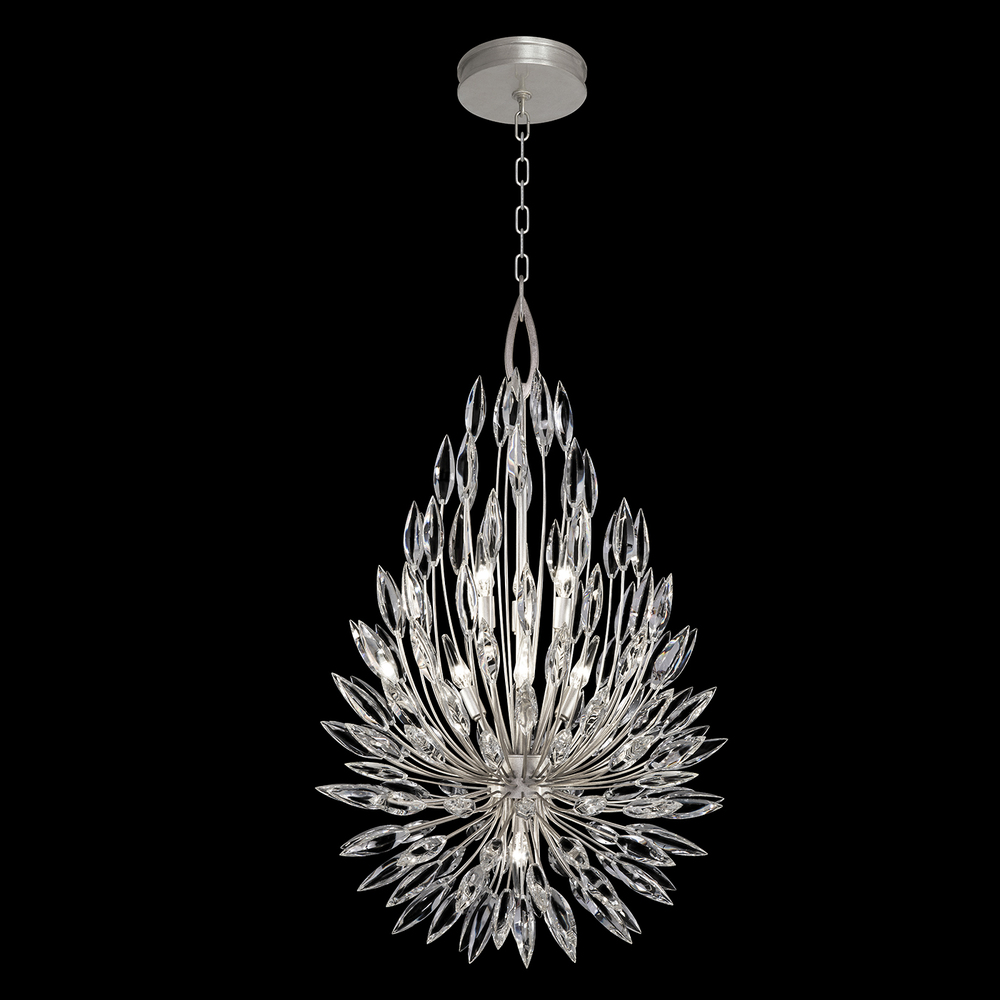 "FIA 883840ST Lily Buds 6Lt Silver Leaf Pendant H 40"" x W 24"" 60W Candelabra lamp not included"